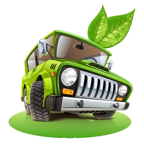 Green off road vehicle cartoon vector