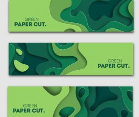 Green paper cut ply banners vector