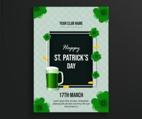 Green patricks day poster vector