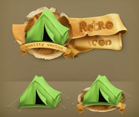 Green tent icon vector
