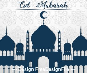 Grey mosque silhouette background vector