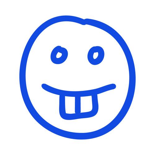 Grinning hand drawn emoji vector