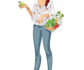 Grocery girl cartoon vector