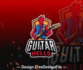 Guitar hells esport logo vector