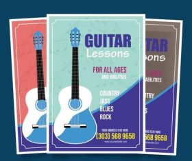 Guitar lessons poster vector
