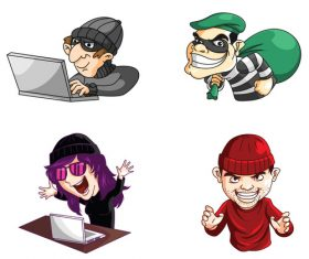 Hacker and thief cartoon character vector