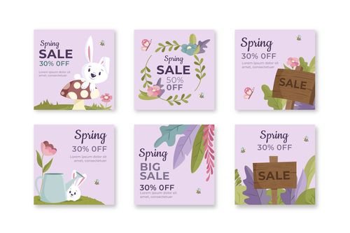 Half price spring sale flyer vector