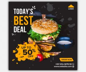 Hamburger sale cover vector design template