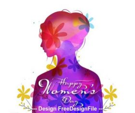 Hand drawn march 8 international women's day greeting card vector