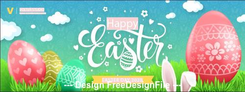 Happy 2020 easter day banner vector