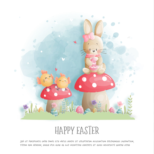Happy Easter watercolor painting vector