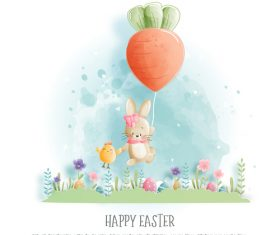Happy Easter with cute bunnies illustration style paper vector