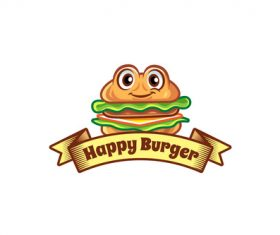 Happy burger mascot logo vector