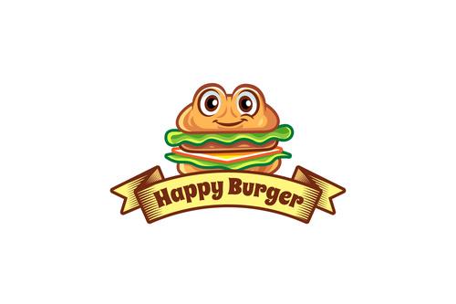 Happy burger mascot logo vector