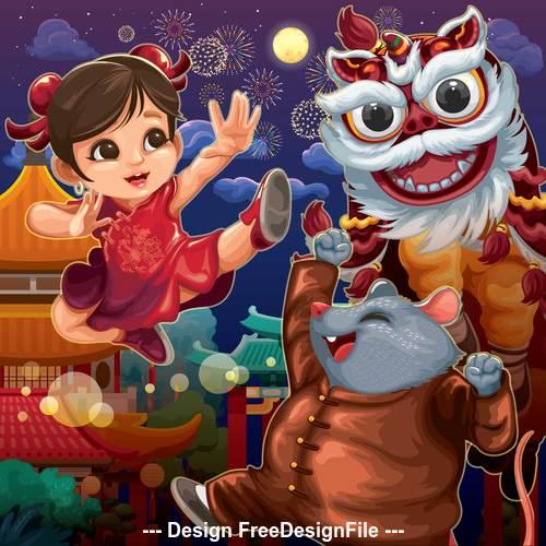 Happy chinese new year cartoon illustration vector