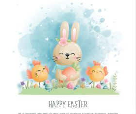 Happy easter bunnies chick vector