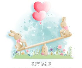 Happy easter bunny cartoon illustration vector