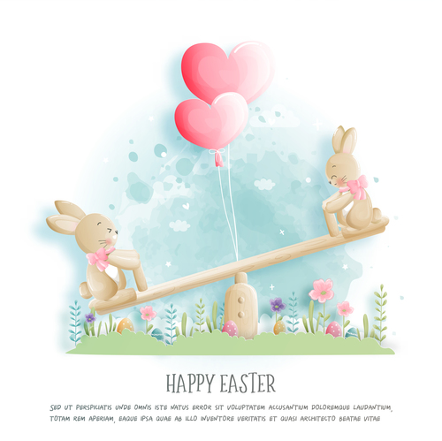Happy easter bunny cartoon illustration vector