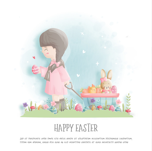 Happy easter girl and cute bunny illustration vector