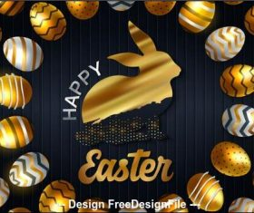 Happy easter luxury card vector