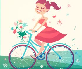 Happy girl spring tour illustration vector