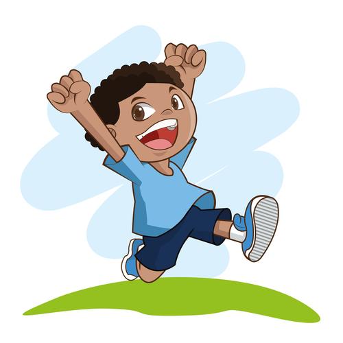 Happy little boy cartoon character vector