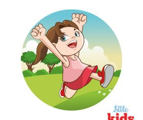 Happy little girl cartoon character vector