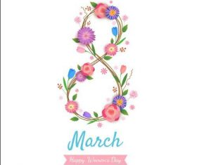 Happy march 8 international womens day greeting card vector