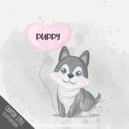 Happy puppy cartoon illustration vector