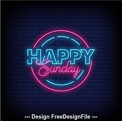 Happy sunday neon signs style text vector