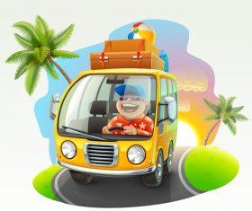 Happy vacation driving trip vector