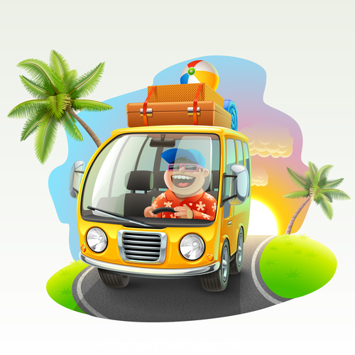 Happy vacation driving trip vector