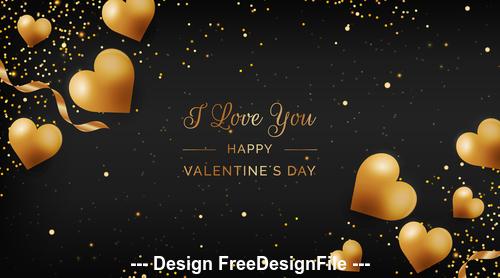 Happy valentines day romantic decorative illustrations vector