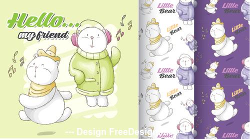 Happy winter cartoon background vector