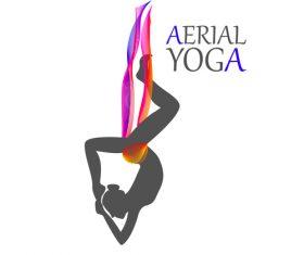 Headstand Aerial yoga logo vector