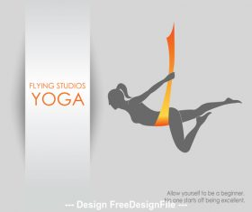 Healthy lifestyle aerial yoga logo vector