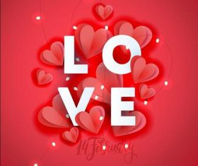 Heart and small lantern background Valentines day card vector