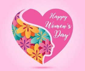 Heart art design womens day greeting card vector