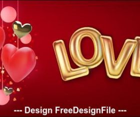 Heart pendant and golden font background vector
