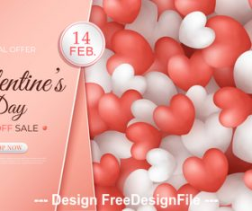 Heart shaped decorative background promotion flyer vector