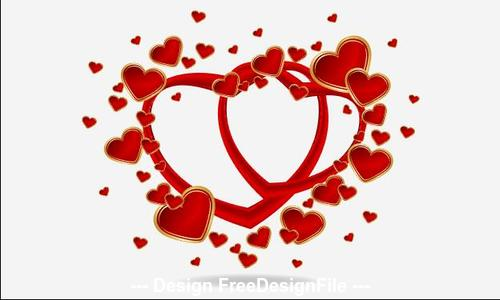 Heart shaped frame and white background vector
