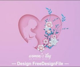 Heart-shaped silhouette Womens day greeting card vector