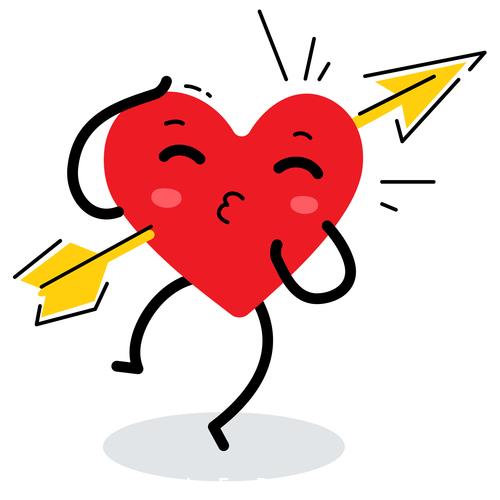 Hearts cupid arrow illustration vector