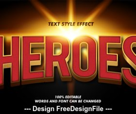 Heroes 3d font effect editable text vector