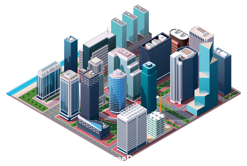 High rise building layout vector