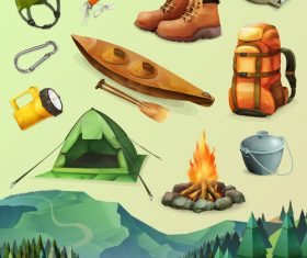 Hike set of vector icons low poly style