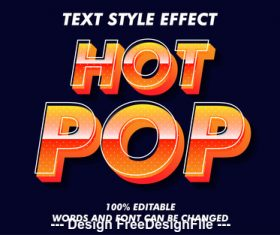Hot pop 3d font effect editable text vector