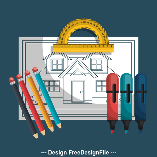House design drawings and tools vector