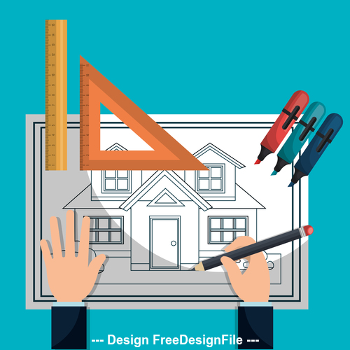 House design drawings vector