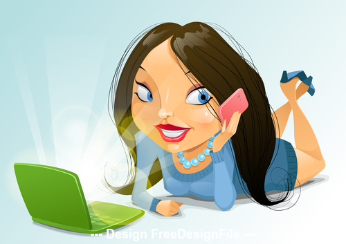 House girl cartoon vector